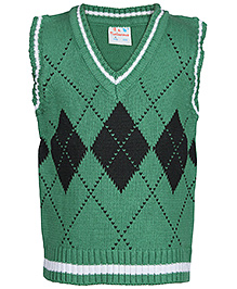 Babyhug Sleeveless Sweater - Argyle Pattern