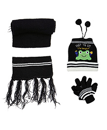 Babyhug Frog Applique Woolen Winter Set - Pack Of 3