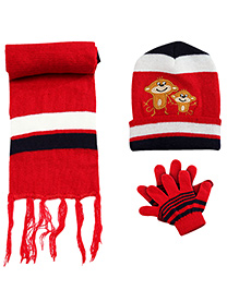 Babyhug Monkey Applique Woolen Winter Set - Pack Of 3