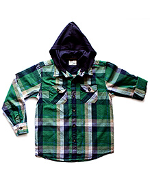 Super Young Full Sleeves Dual Pocket Hooded Shirt - Check Print