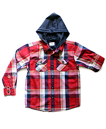 Super Young Full Sleeves Check Print Hooded Shirt - Dual Pocket