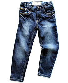Super Young Stone Wash Pattern Jeans - Blue