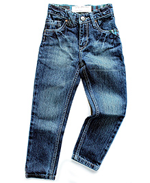 Super Young Stone Wash Pattern Denim Jeans - Blue