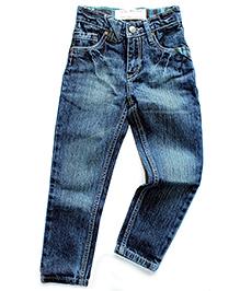 Super Young Stone Wash Pattern Denim Jeans - Blue