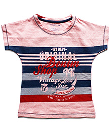 Super Young Short Sleeves Stripes And Message Print T Shirt