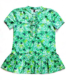 Super Young Buttrfly Print Cotton Tunic - 74 cm