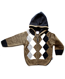 Wow Mom Argyle Print Sipper Hooded Sweater
