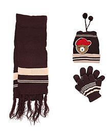 Babyhug Bear Face Applique Woolen Winter Set - Pack Of 3