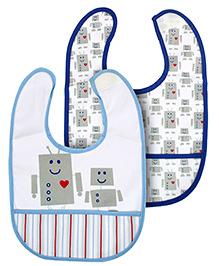 Mee Mee Set Of 2 Baby Bibs Robot Print - Blue