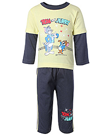 Tom And Jerry Star Print Small, 0 - 6 Months, Brown cotton fabric top with legging set