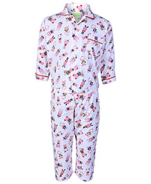 Babyhug Full Sleeves Night Suit - Teddy Print