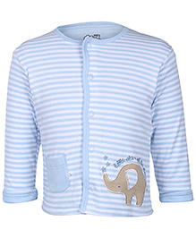 FS Mini Klub Blue Full Sleeves Striped Vest - Elephant Patch Embroidery