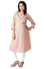 Morph Quarter Sleeves Maternity Kurta - Polka Dots Print