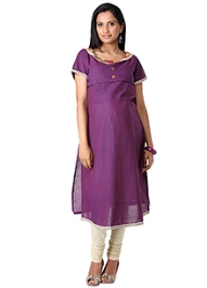 Morph Half Sleeves Plain Maternity Kurta - Boat Neck