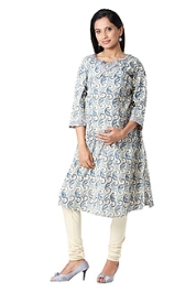 Morph Quarter Sleeves Blue Maternity Kurta - Lace At Neck