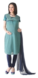 Morph Short Sleeves Plain Green Maternity Kurta Chudidaar And Duppata