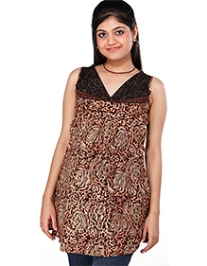 Morph Sleeveless Maternity Brown Printed Kurta