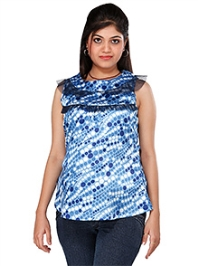 Morph Blue Satin Maternity SleevelessTop Large, Soft And Comfortable Blue Satin Sleeveless Top