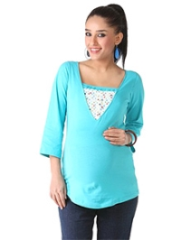 Morph Blue Maternity And Nursing Tee