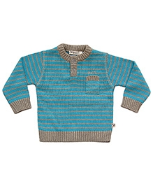 Buzzy Full Sleeves Sweater - Blue And Grey