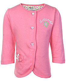 FS Mini Klub Pink Full Sleeves Button Opening Vest - Front Pocket