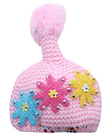 Babyhug Woolen Baby Cap With Tail - Flower Applique