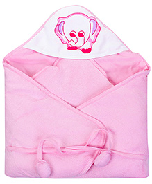 Tinycare Pink Hooded Towel - Elephant Print