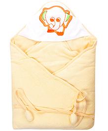 Tinycare Hooded Towel Elephant Print - Pale Orange
