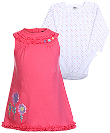 FS Mini Klub Pink Sleeveless Frock And Full Sleeves Onesies Set