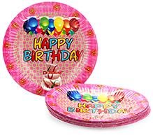 Karmallys Printed Paper Plates Happy Birthday Cake And Balloons Print - 19 Cm