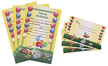 Karmallys Kids Party Invitation Pack - Ballons Print