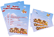 Karmallys Kids Party Invitation Pack - Bear Print