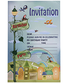 Karmallys Kids Party Invitation Pad - City Rainbow Print