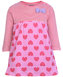 FS Mini Klub Full Sleeves Frock - Heart Print