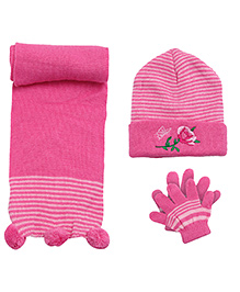 Babyhug Woollen Cap Muffler and Gloves Set - Rose Design
