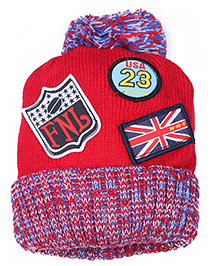 Babyhug Woolen Baby Cap With Flag Badge - Chook Style