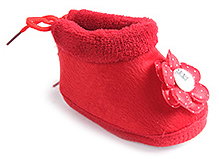Cute Walk Baby Booties - Flower Applique