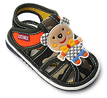 Cute Walk Check Design Sandal - Teddy Applique