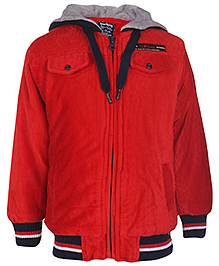 Sportking Full Sleeves Jacket With Plush Hood - Red