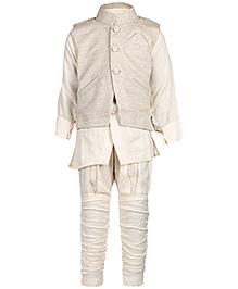Babyhug Kurta Chudidaar and Jacket Set - Slant Welt Pocket