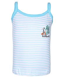 Bodycare White Boat Neck Slip - Stripes Print