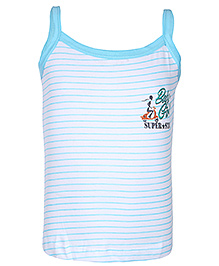 Bodycare White Boat Neck Slip - Stripes Print