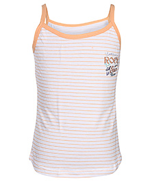 Bodycare Orange Boat Neck Slip - Stripes Print