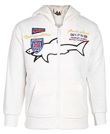 Babyhug Full Sleeves Hooded Sweatshirt Jacket - Shark Print