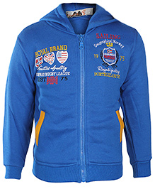 Babyhug Full Sleeves Hooded Jacket - Royal Brand Print