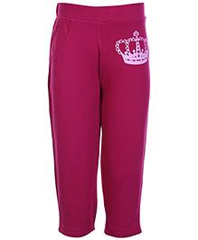 FS Mini Klub Dark Pink Crown Print Track Pant - Dual Pocket
