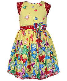 Babyhug Cap Sleeves Yellow Frock - Butterfly Print