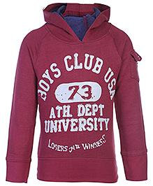FS Mini Klub Full Sleeves Hooded Sweat Shirt - Boys Club Print
