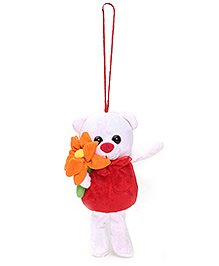 Tickles Hanging Toy Teddy Bear With A Flower - White