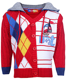 Sportking Red Full Sleeves Multi Design Hooded Sweater
